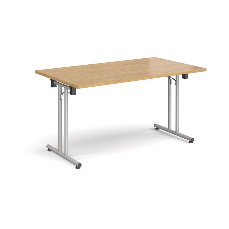 Rectangular Folding Leg Table With Silver And Straight Foot Rails 1400mm X 800mm Oak