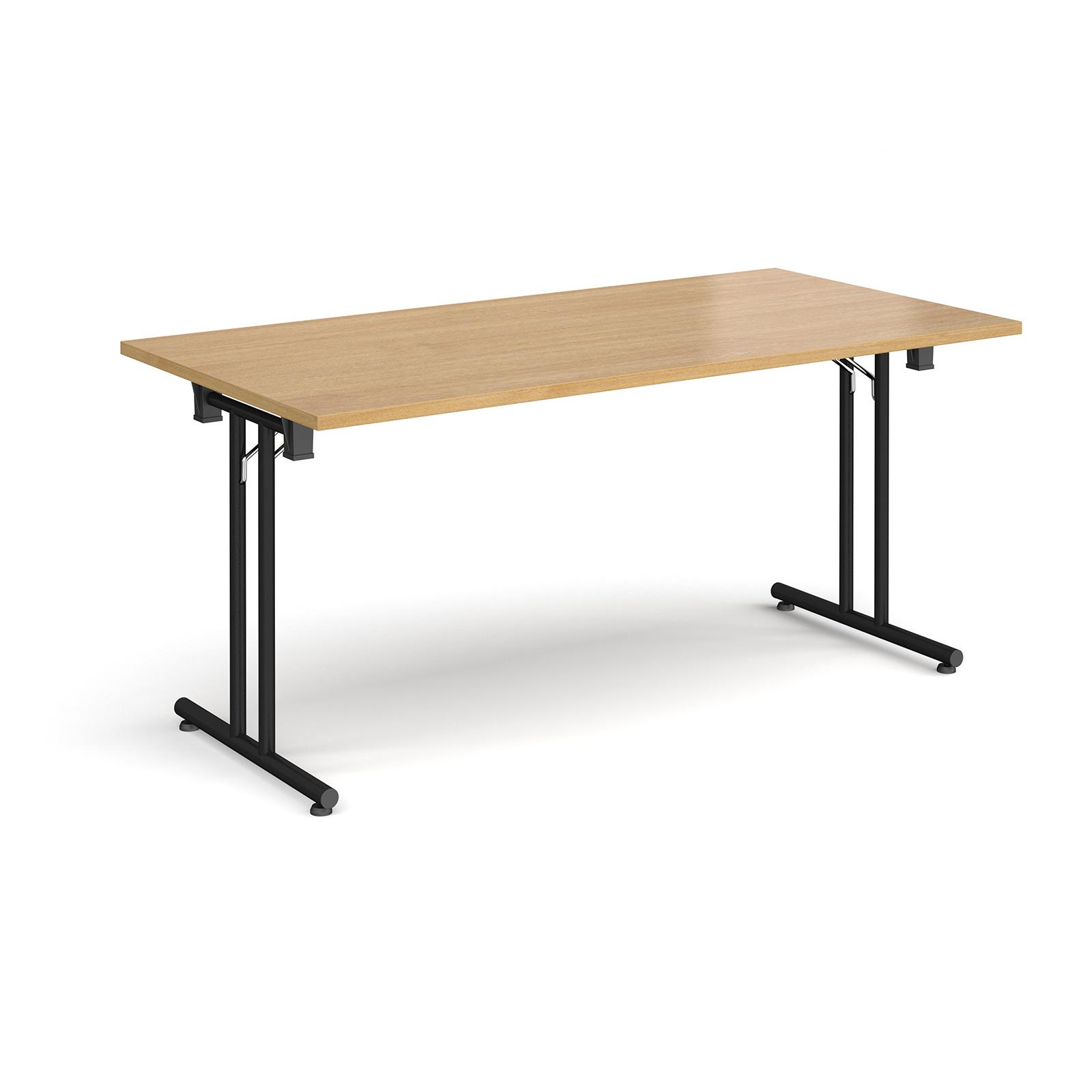 Rectangular Folding Leg Table With Black And Straight Foot Rails 1600mm X 800mm Oak