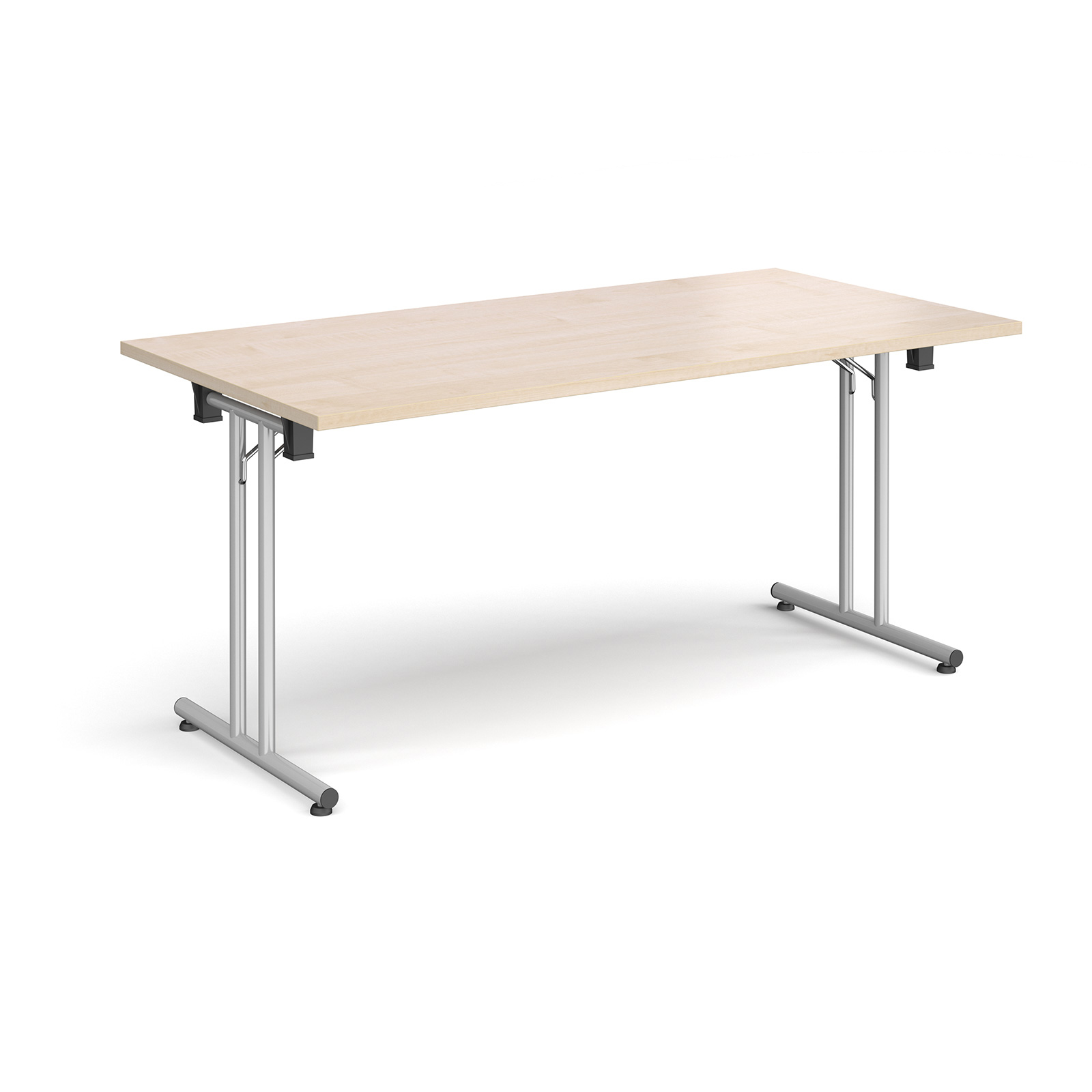 Rectangular Folding Leg Table With Silver And Straight Foot Rails 1600mm X 800mm Maple