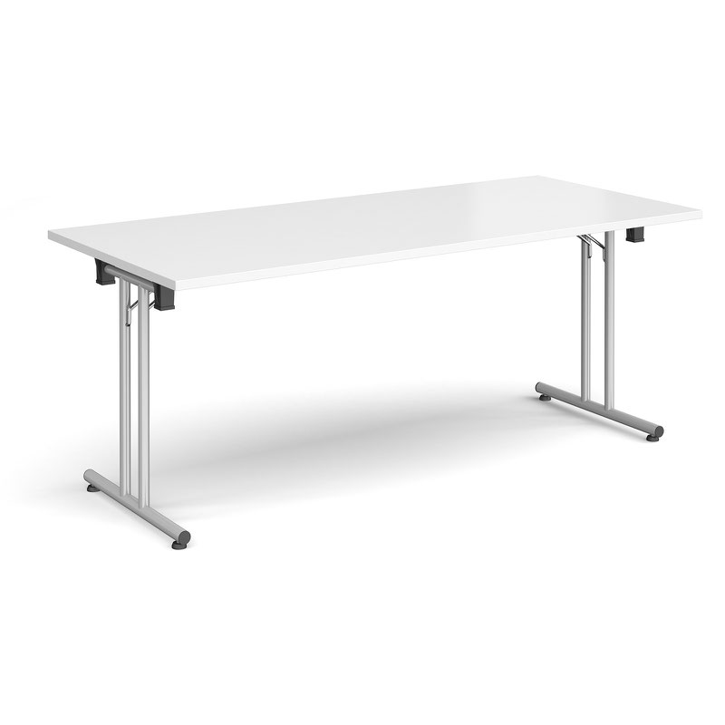 Rectangular Folding Leg Table With Silver And Straight Foot Rails 1800mm X 800mm White