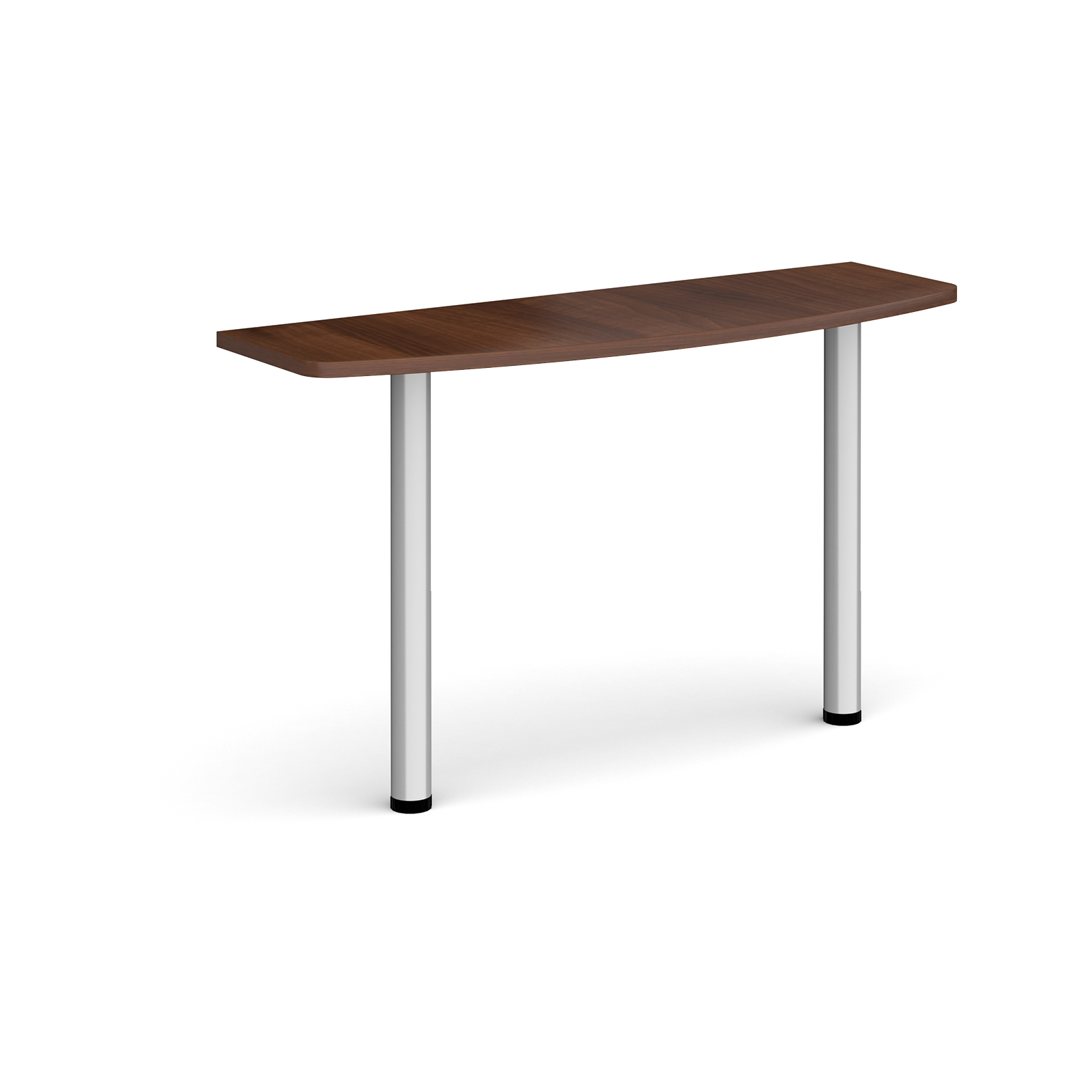 D-end desk extension table 1200mm wide with silver legs - walnut top