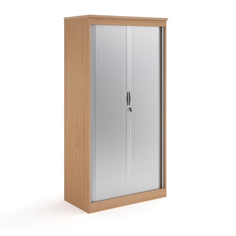 Systems horizontal tambour door cupboard 2000mm high - beech