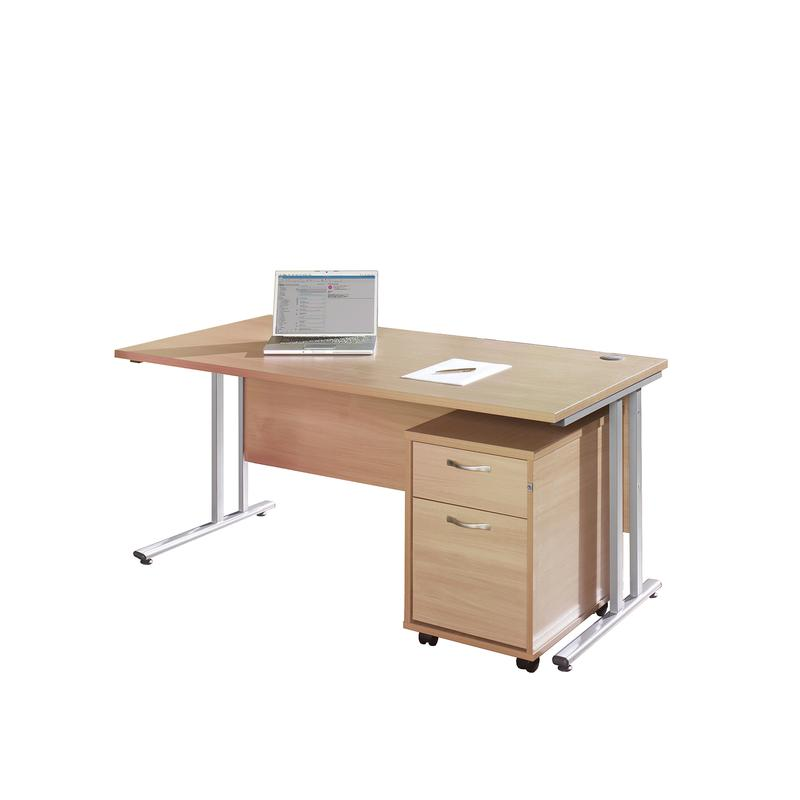 Maestro 25 SL straight desk 1400mm x 800mm with silver cantilever frame and 2 drawer pedestal - oak