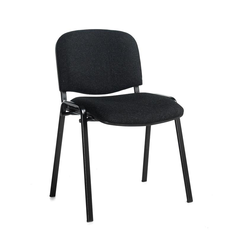 Taurus meeting room stackable chair with black frame and no arms - charcoal