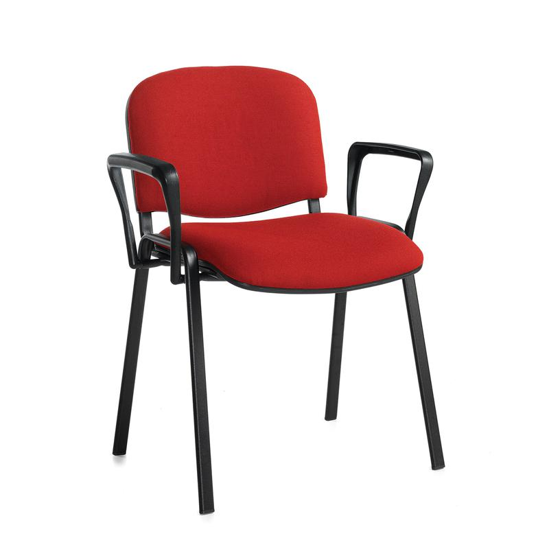 Taurus meeting room stackable chair with black frame and fixed arms - burgundy