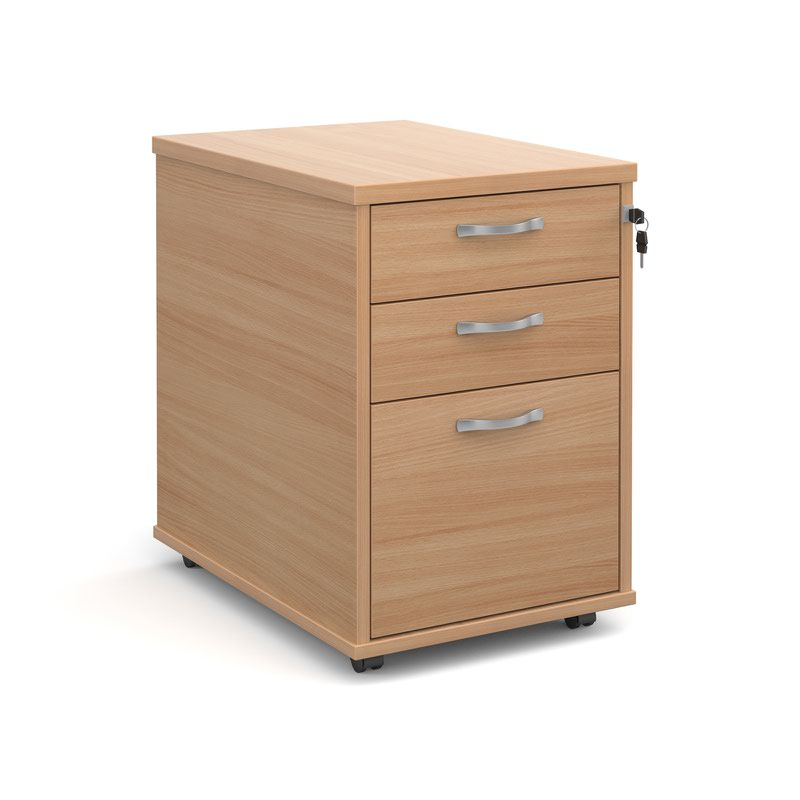 Tall mobile 3 drawer pedestal with silver handles 600mm deep - beech