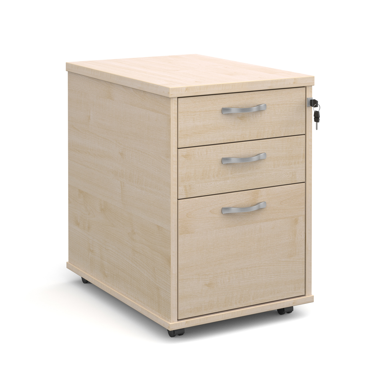 Tall mobile 3 drawer pedestal with silver handles 600mm deep - maple