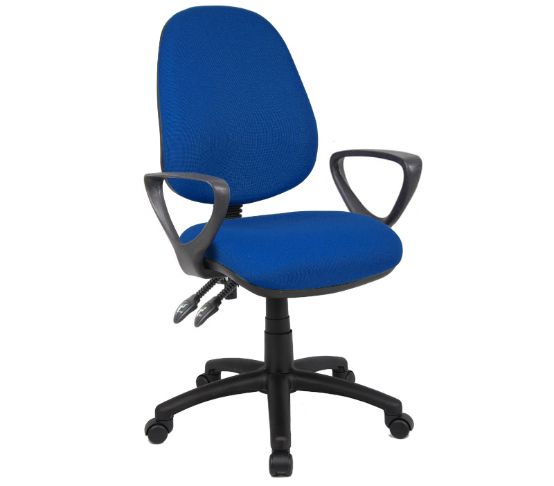Vantage 100 2 lever fabric operator chair with fixed arms - blue