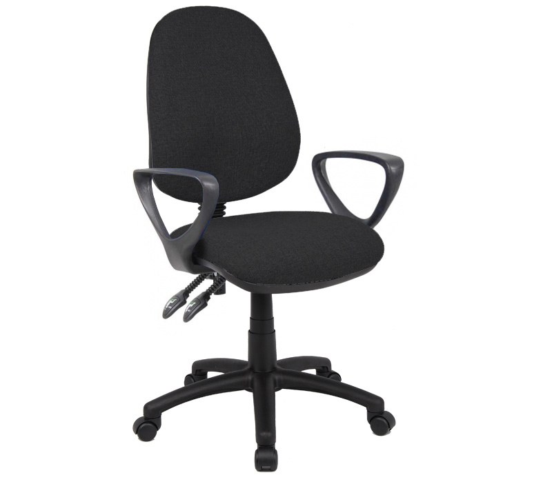 Vantage 100 2 lever fabric operator chair with fixed arms - black