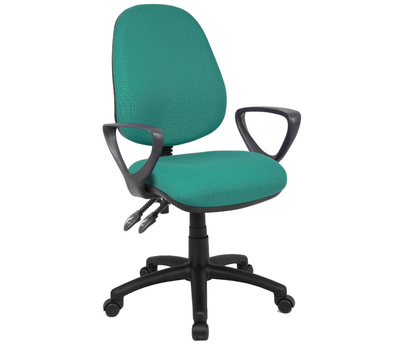 Vantage 100mm 2 Lever Pcb Operators Chair With Fixed Arms Green
