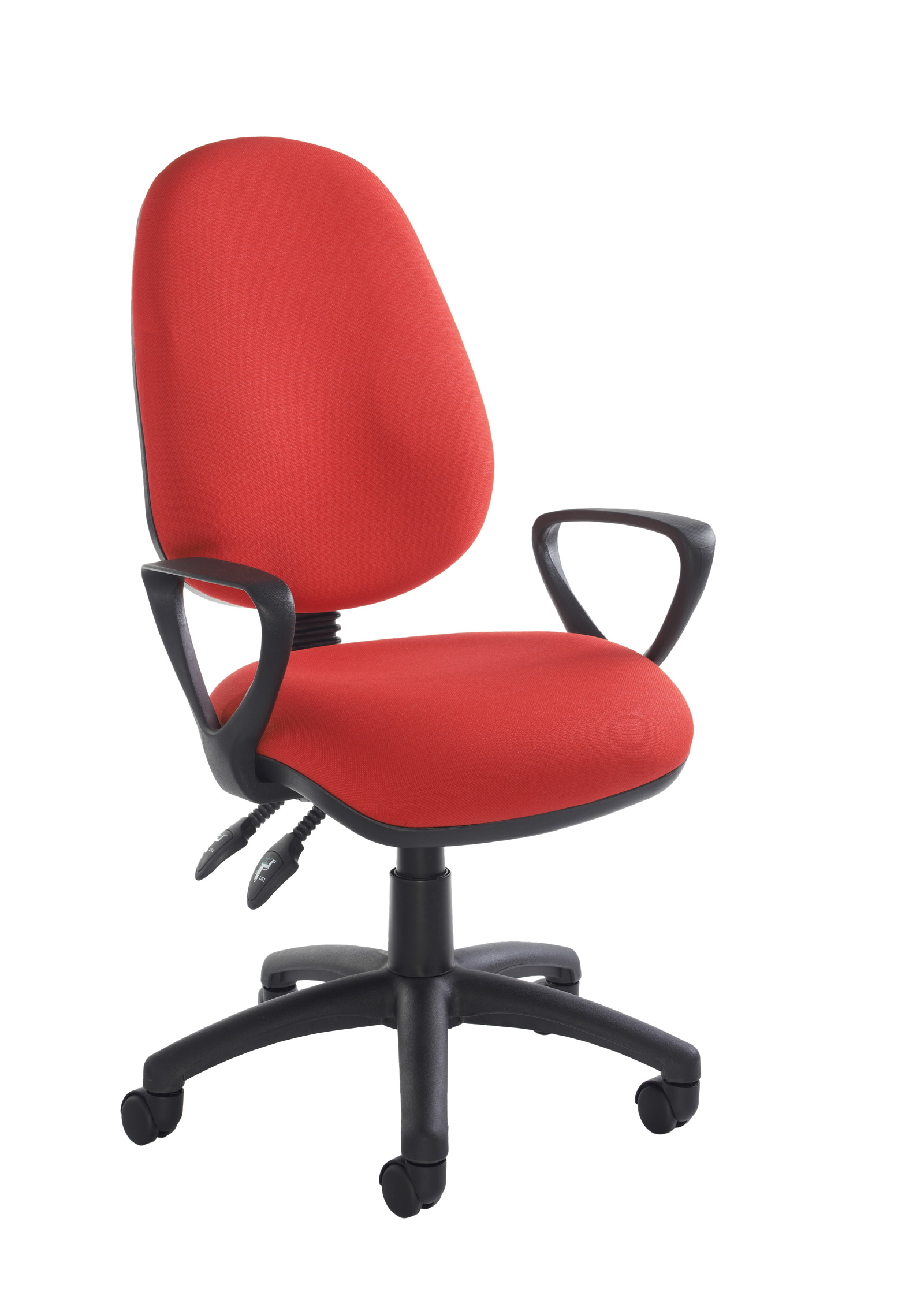 Vantage 100 2 lever fabric operator chair with fixed arms - red