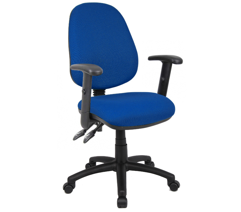 Vantage 100 2 lever fabric operator chair with adjustable arms - blue