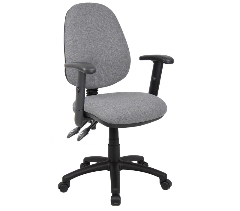 Vantage 100mm 2 Lever Pcb Operators Chair With Adjustable Arms Grey