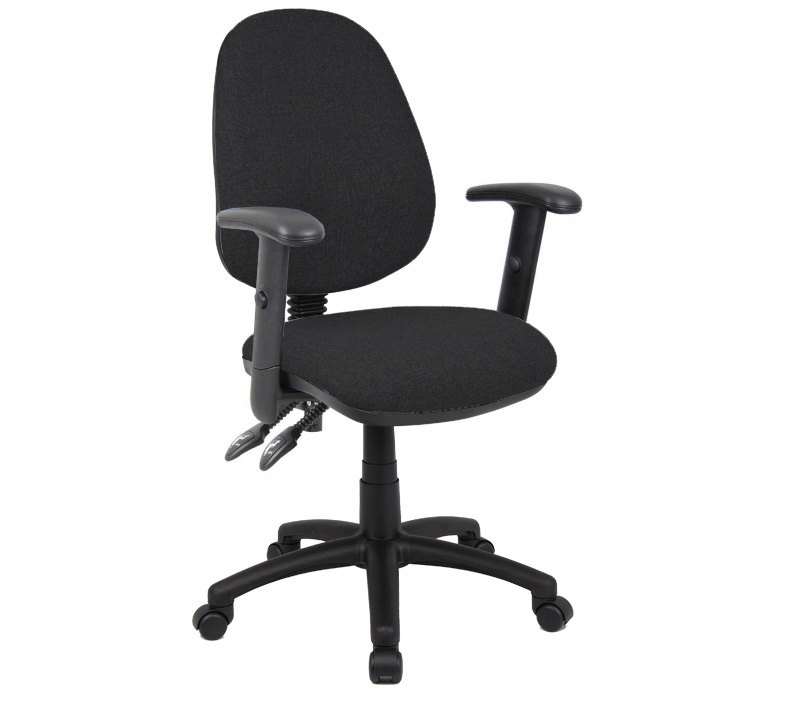 Vantage 100 2 lever fabric operator chair with adjustable arms - black