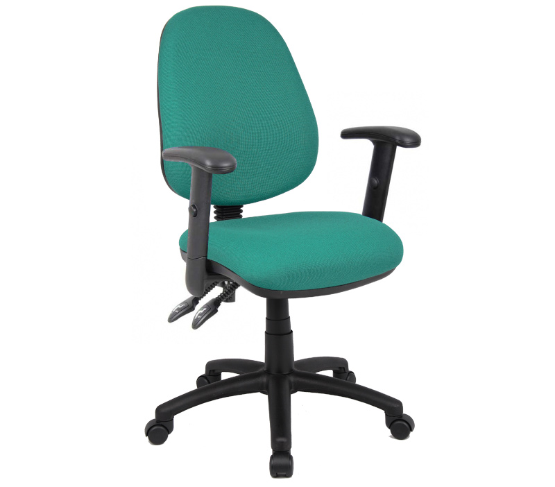 Vantage 100mm 2 Lever Pcb Operators Chair With Adjustable Arms Green
