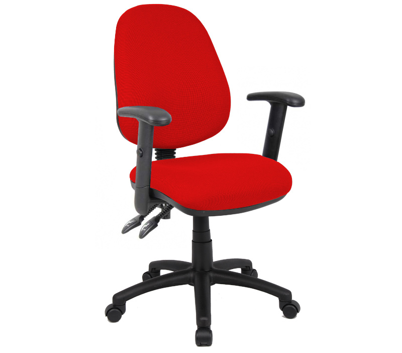 Vantage 100 2 lever fabric operator chair with adjustable arms - red