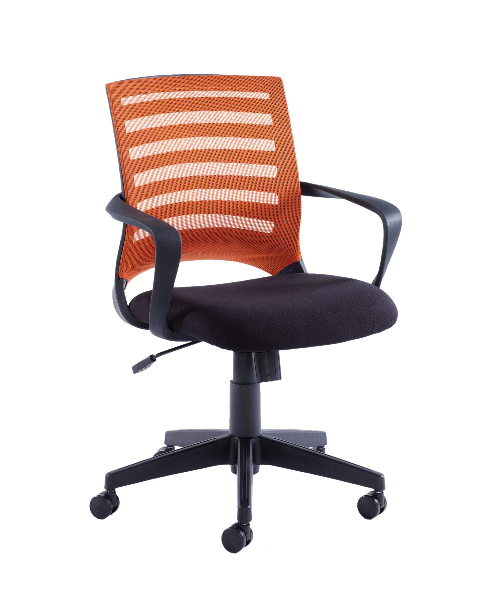 Vega Fabric Seat Mesh Back Operator Chair Fixed Arms Orange