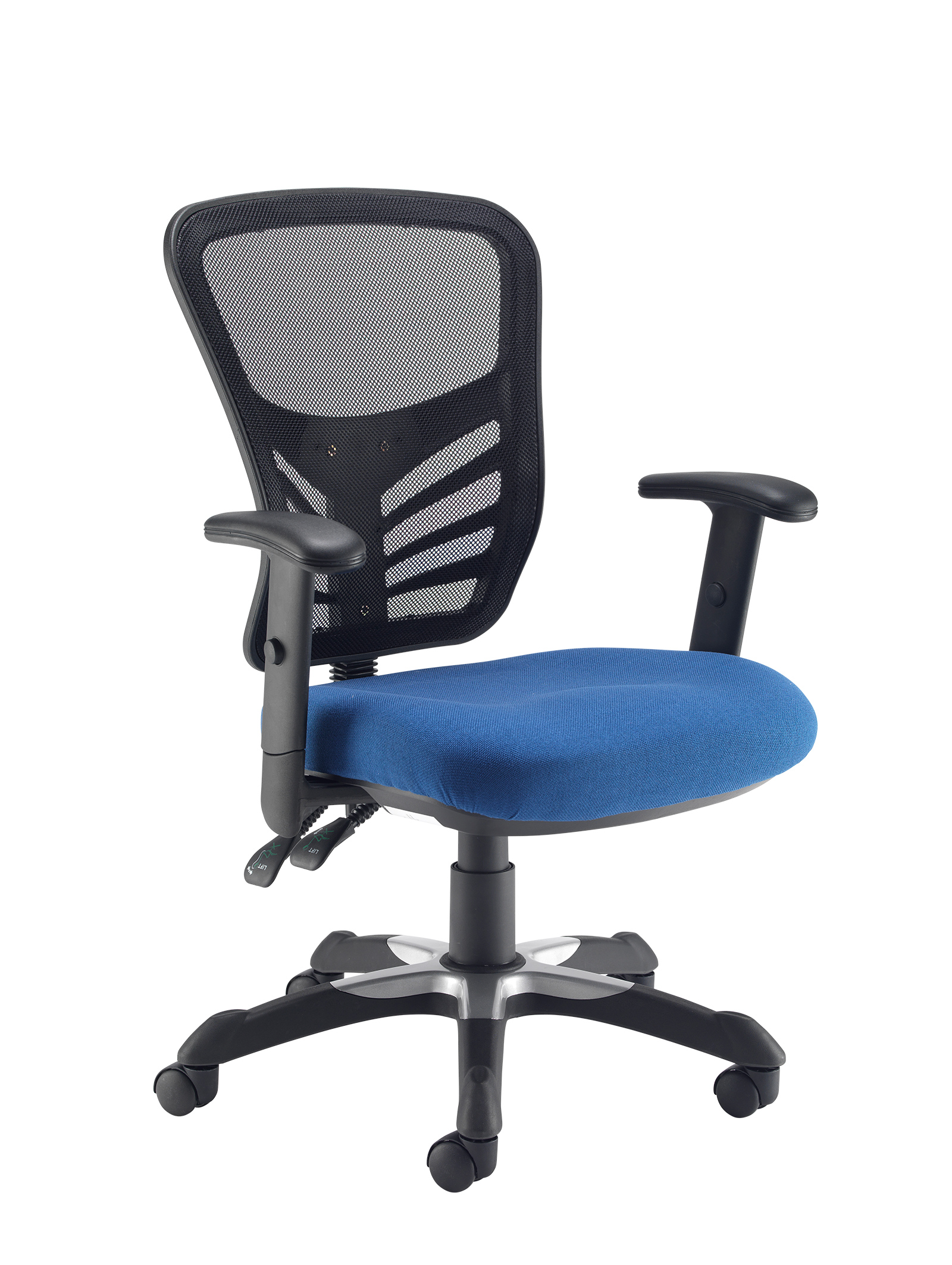Vantage mesh 2 lever chair task chair with adjustable arms - blue