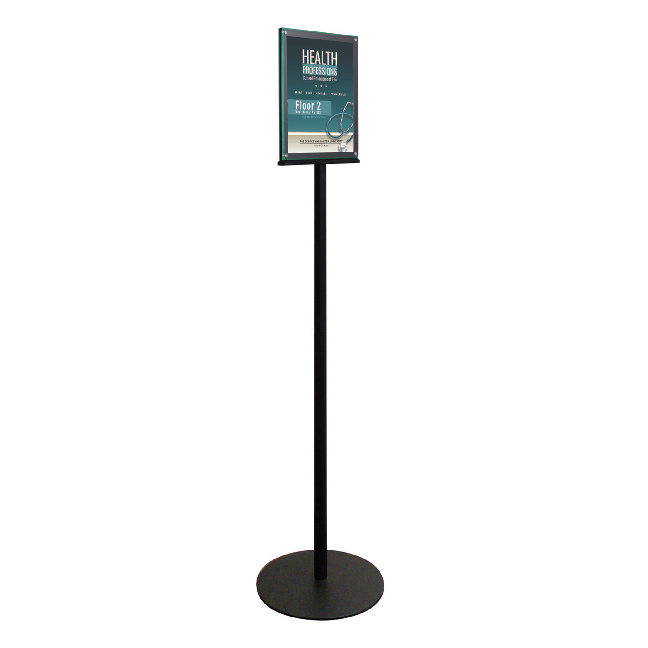 Literature Holders Deflecto Magnetic Double Sided Floor Standing Sign Holder Black