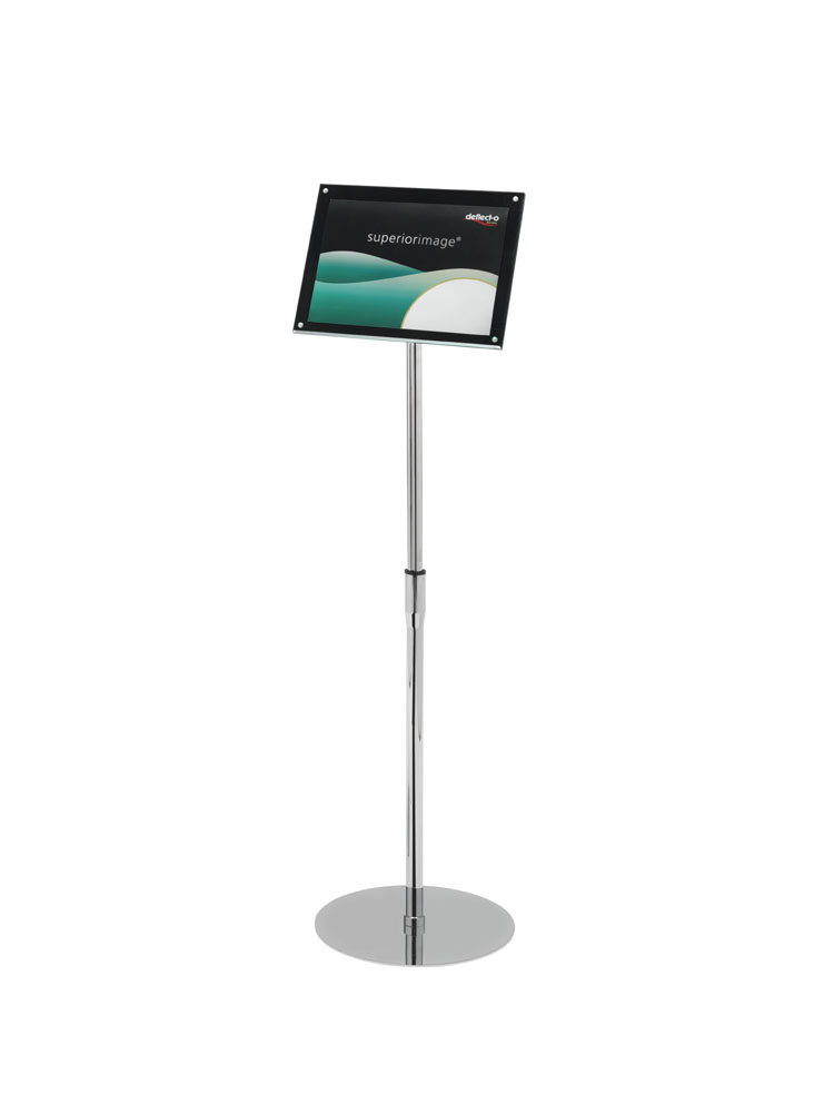 Deflecto Sign Holder with Bevel Magnetic Cover Floor Standing Heavyweight A4 Ref DE790845