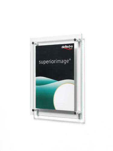 Sign or Menu Display Holder Wall Mounted Bevelled Edge Acrylic 216x279mm