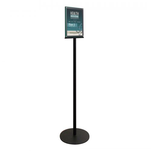 Deflecto Magnetic Double Sided Floor Standing Sign Holder Black