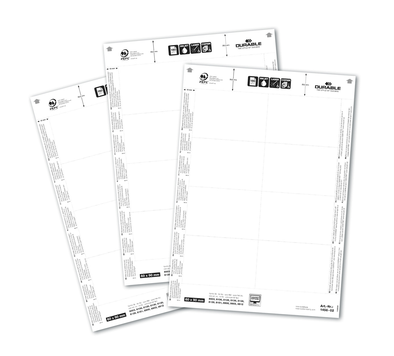Durable Badgemaker 160 Inserts 60x90mm White
