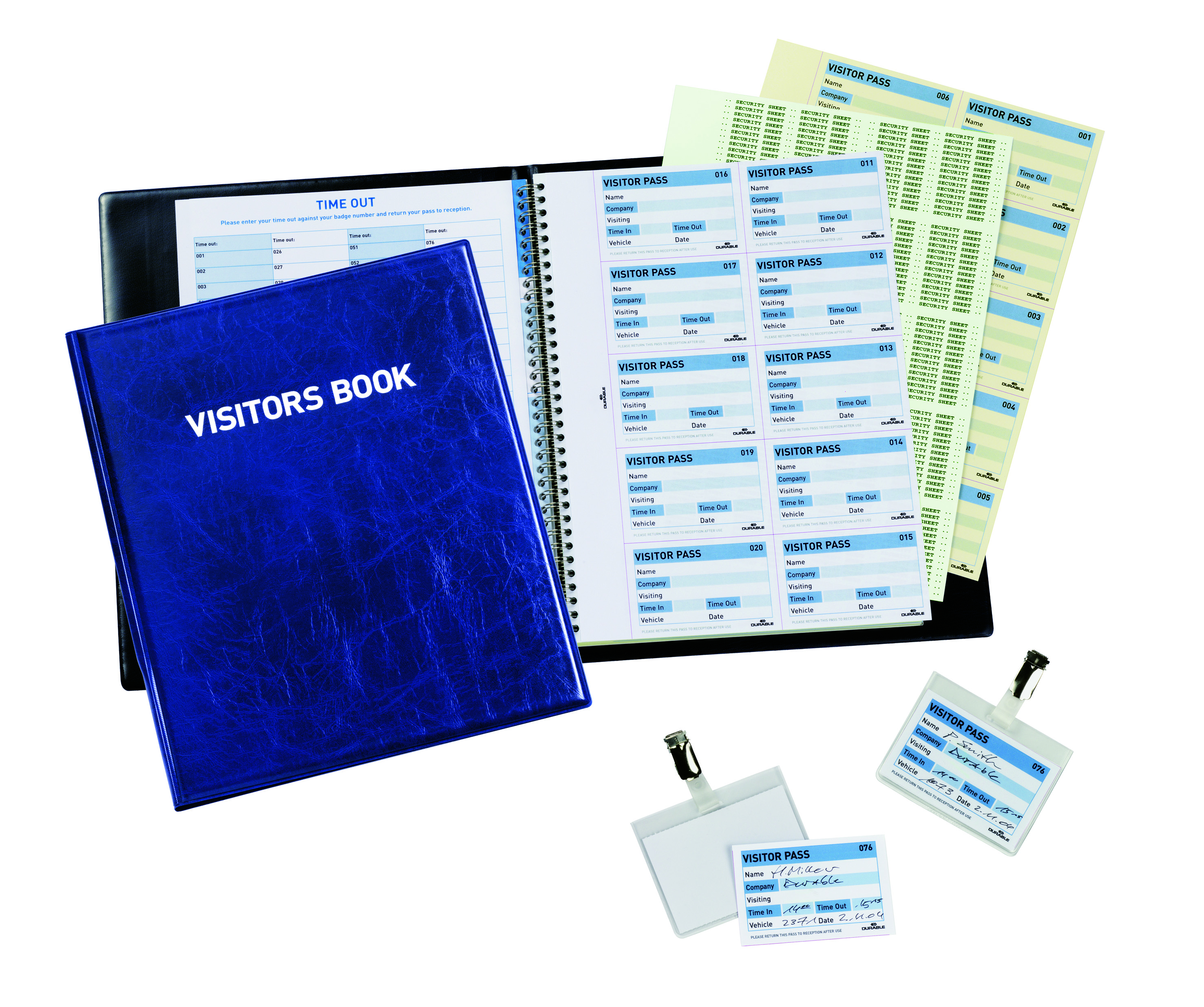 Visitors Books Durable Visitor Book 100 with 100 Badge Refill 60x90 146365