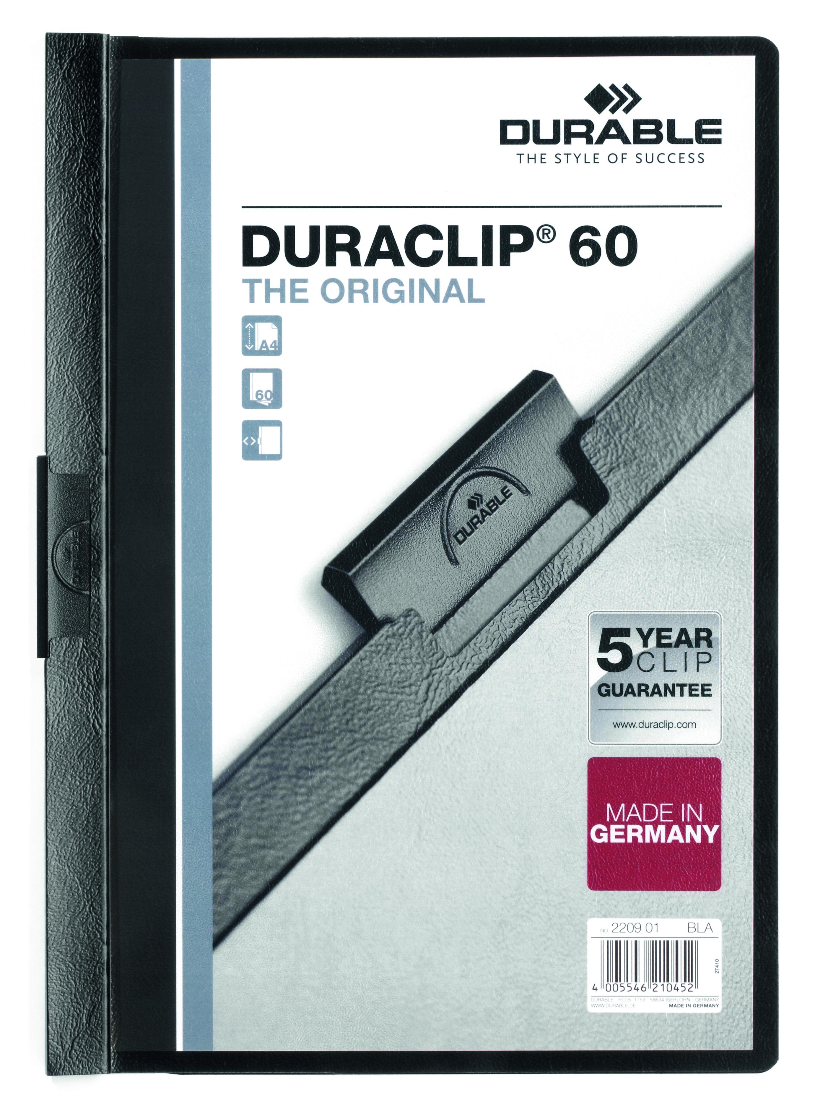 Durable Duraclip 60 Report File 6mm A4 Black 220901 (PK25)