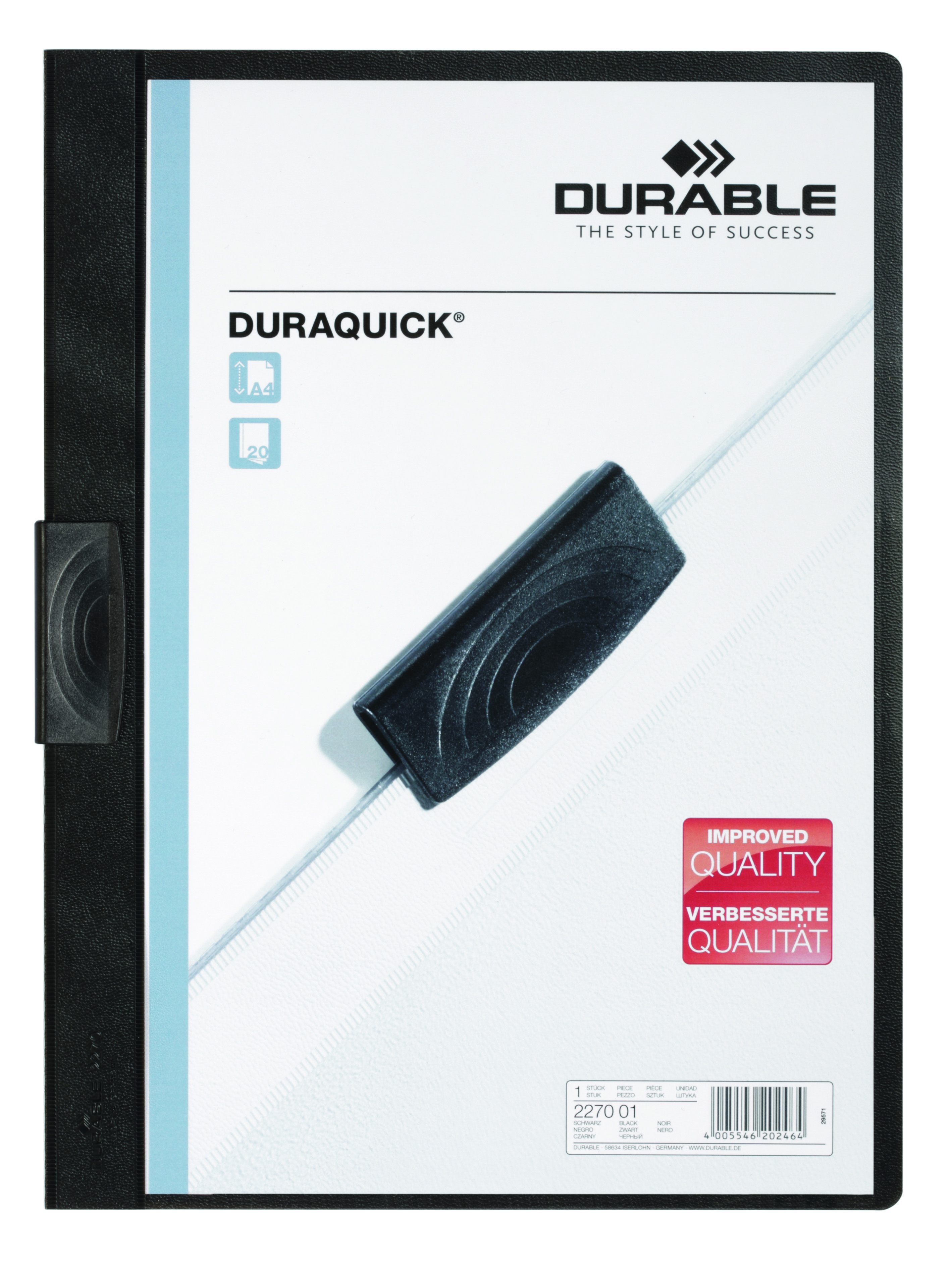 Durable Duraquick Clip Folder PVC Clear Front A4 Black Ref 2270/01 [Pack 20]