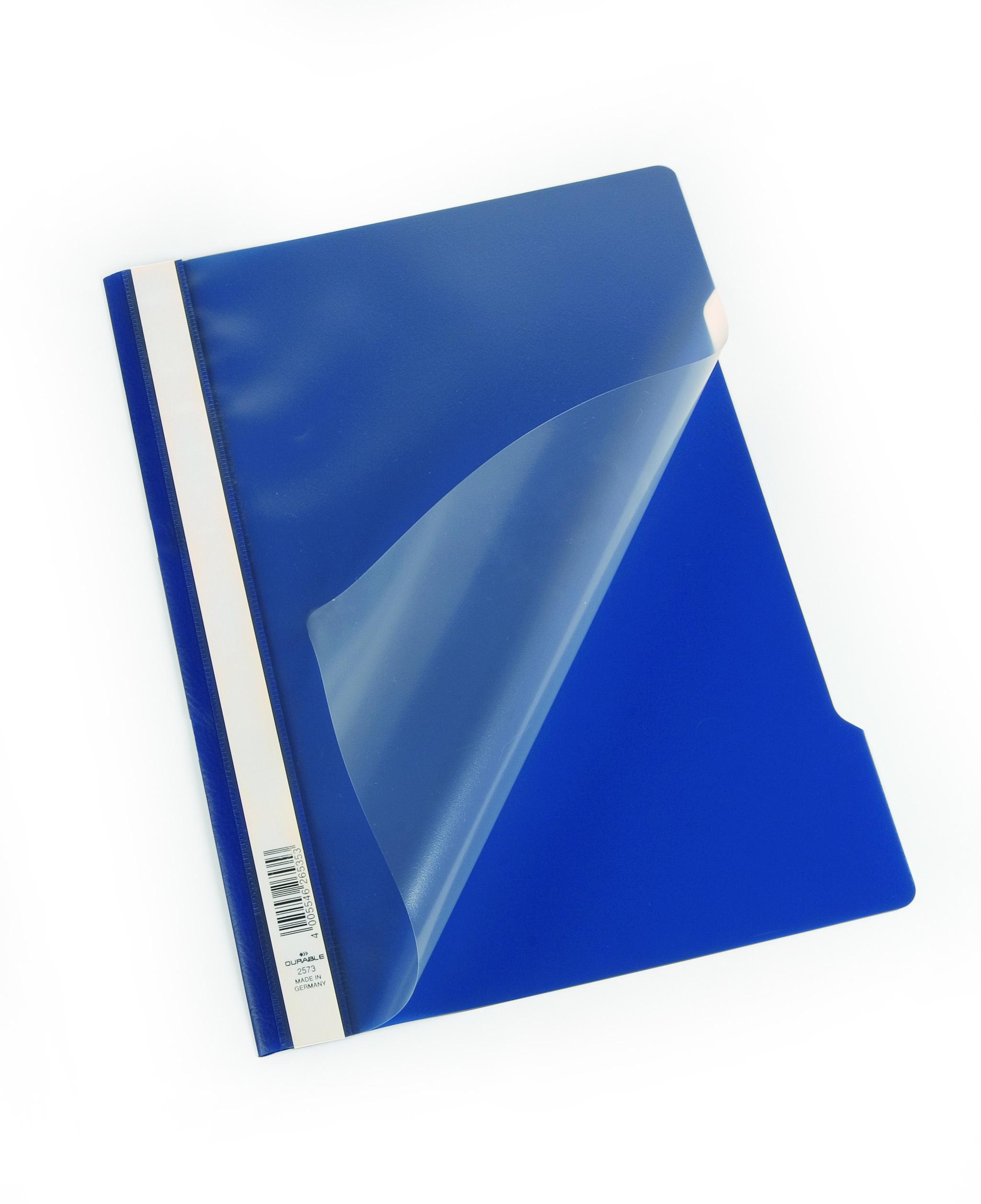 Clip Files Durable Polyprop Clear View Folder A4 DarkBlue 257307 (PK50)