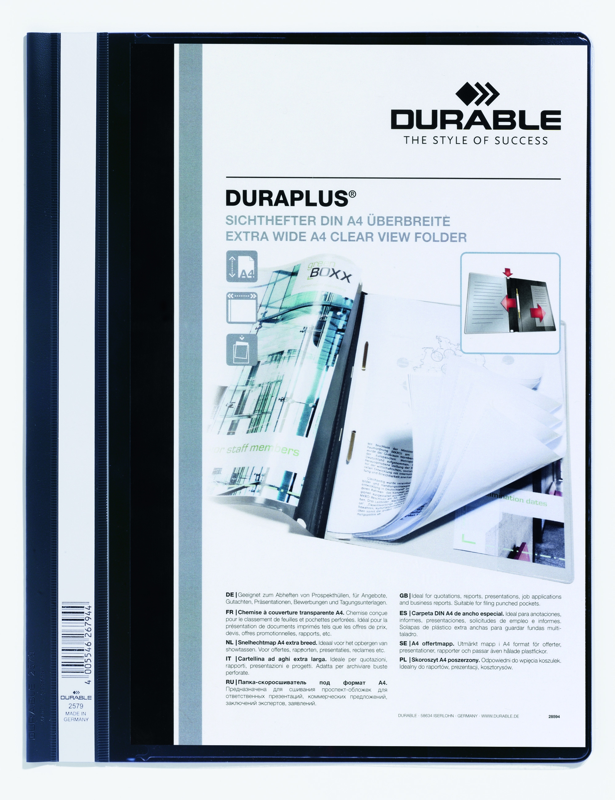 Durable Duraplus Report Folder ExWide A4 Black 257901 (PK25)