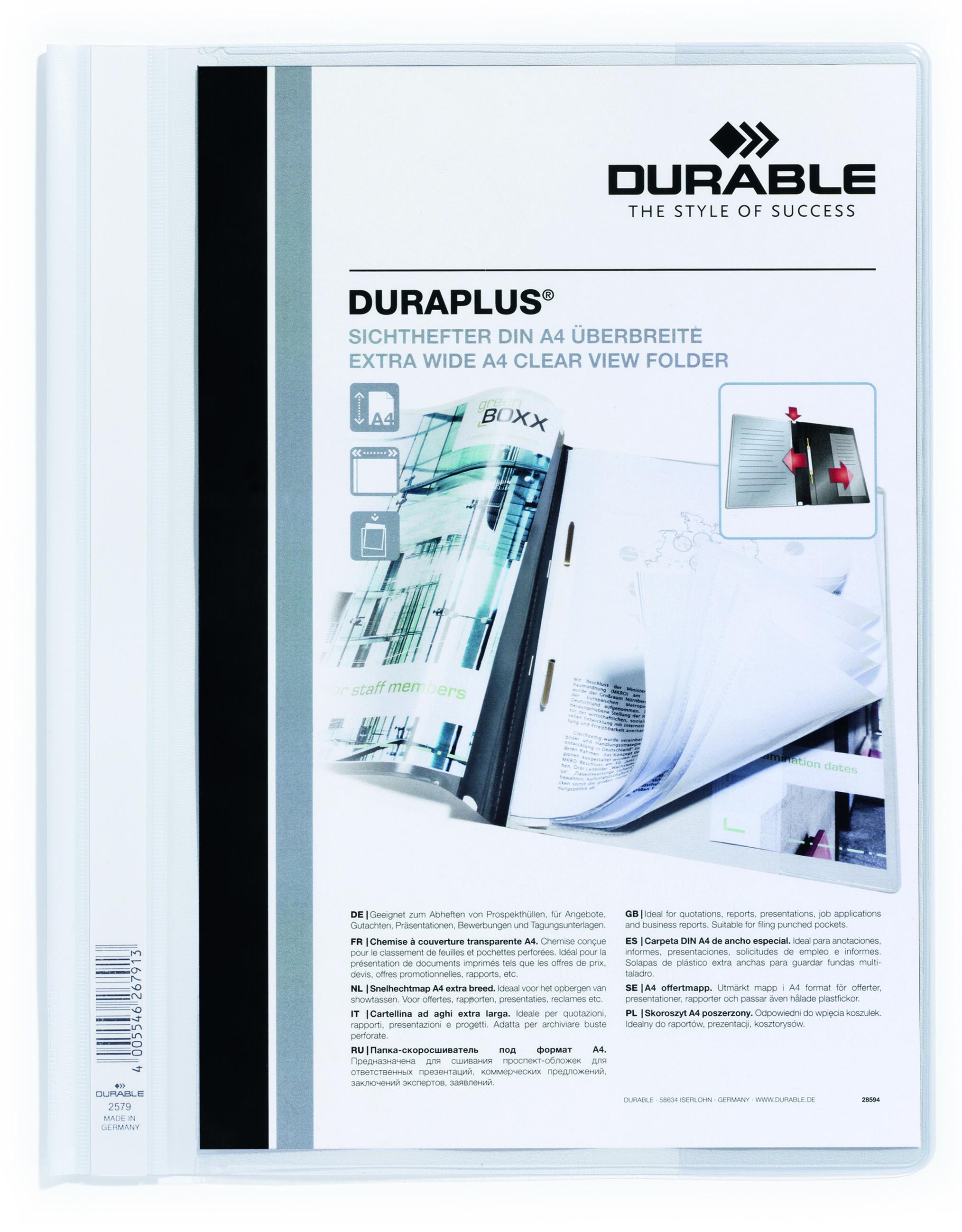 Clip Files Durable Duraplus Report Folder ExWide A4 White 257902 (PK25)