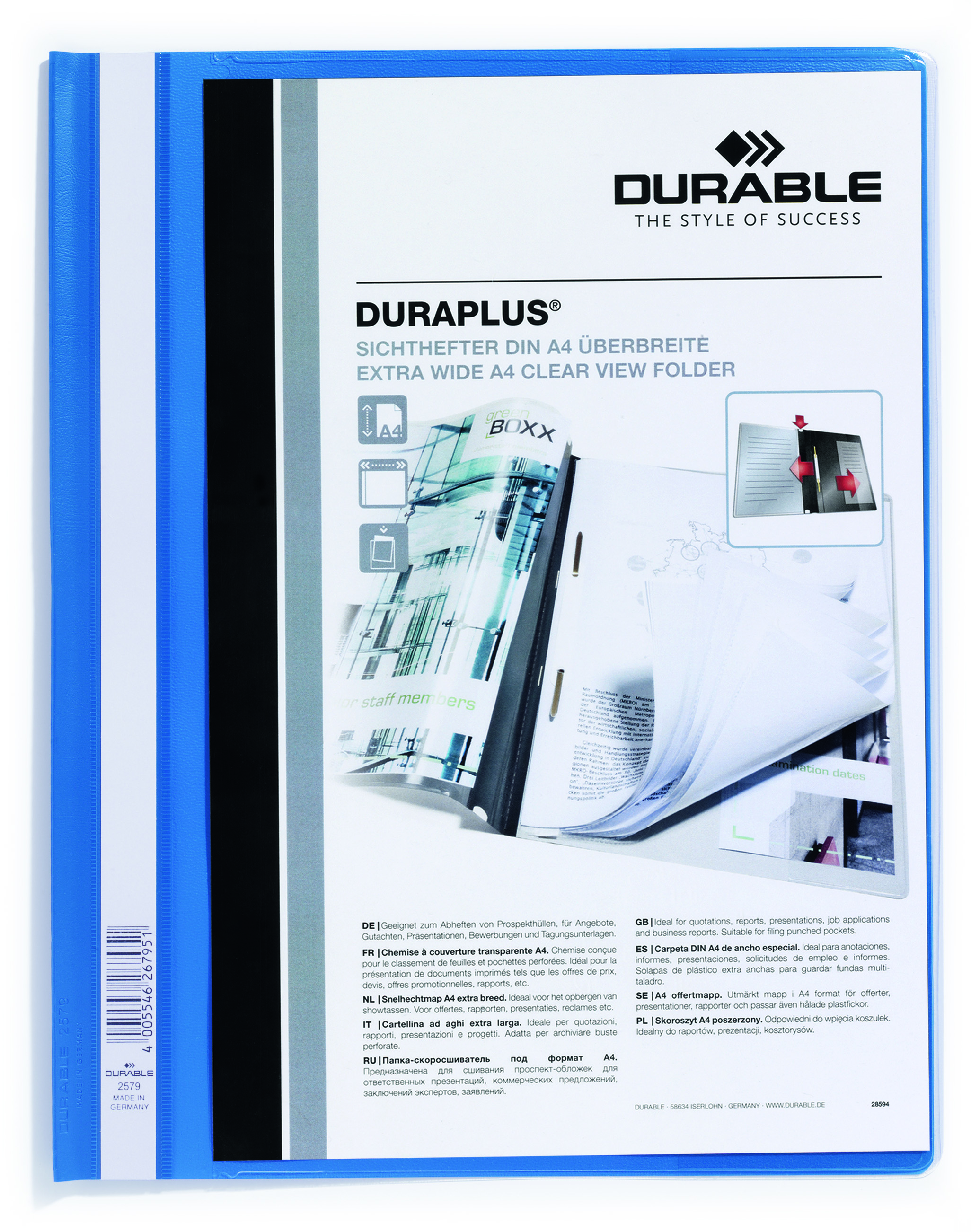 Durable Duraplus Report Folder Extra Wide A4 Blue (PK25)