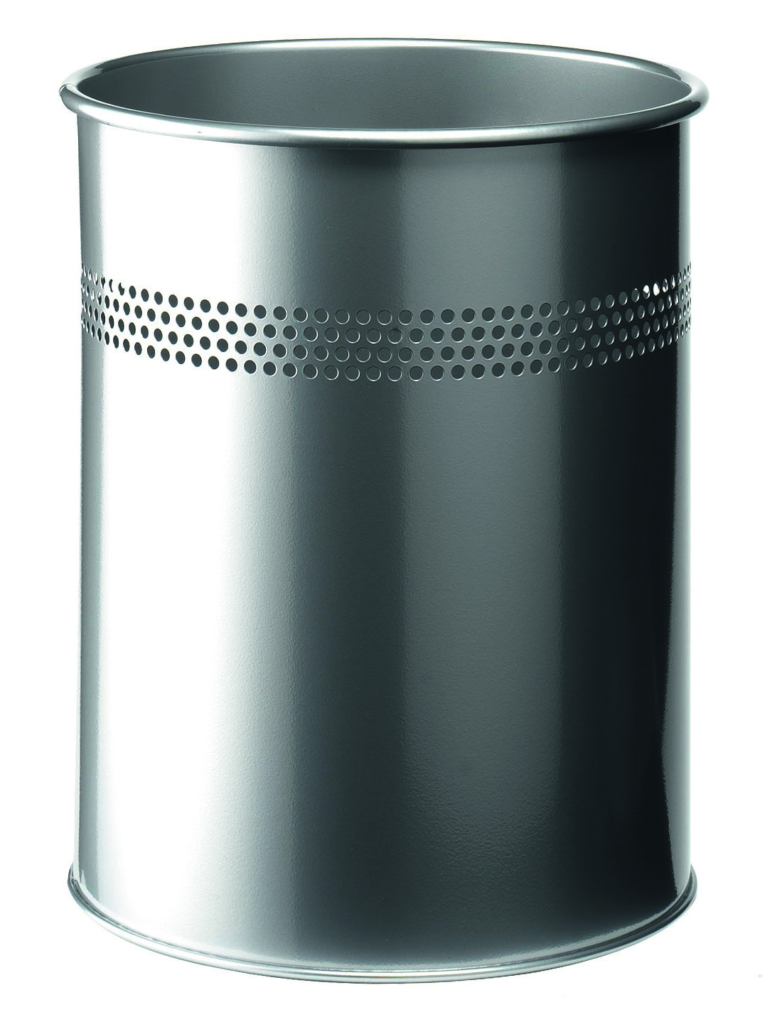 Rubbish Bins Durable Waste Bin Metal Round Perforated 15L 30mm Silver 330023