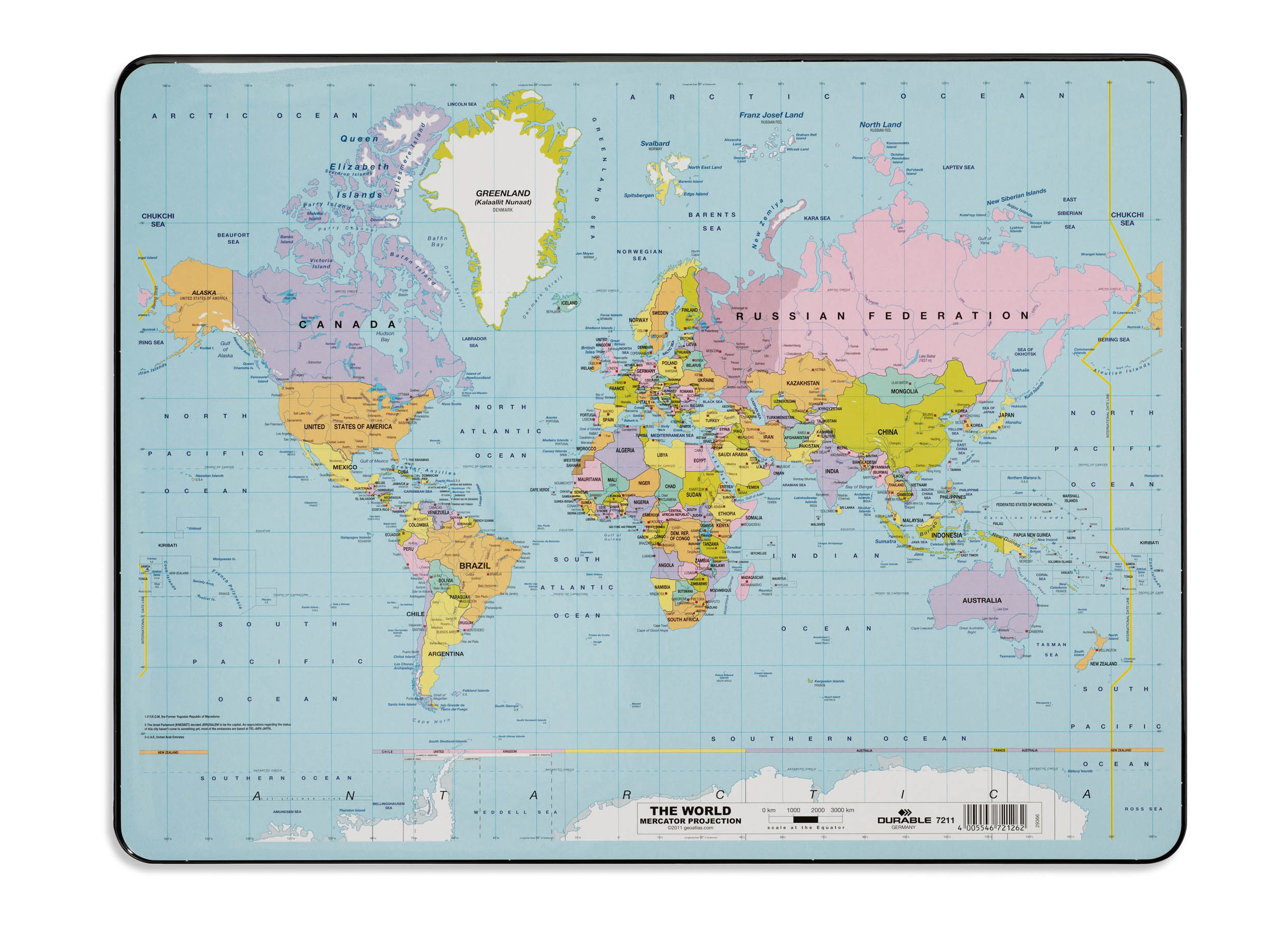 Cbs office solutions durable desk mat world map 400x530mm 7211 gumiabroncs Image collections