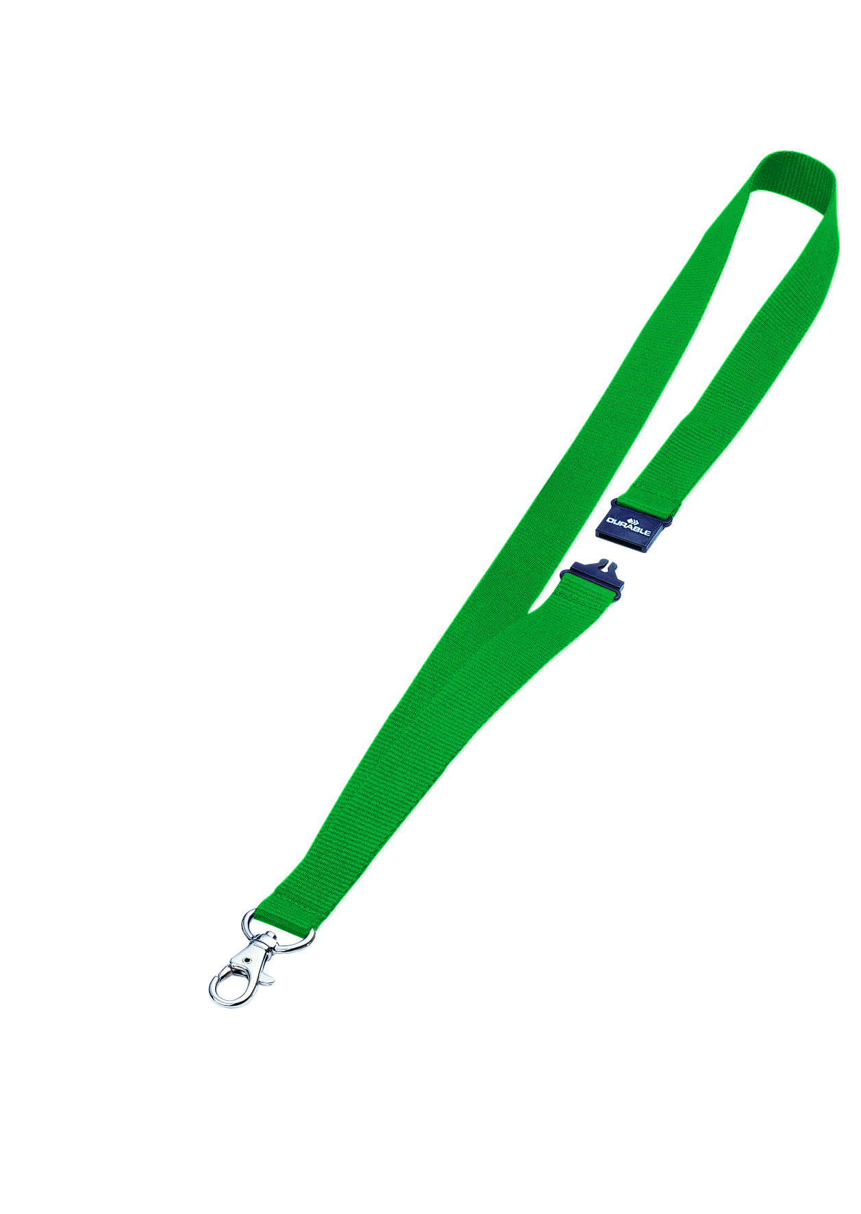 Durable Textile Necklace 20mm With Clip Green Pack 10