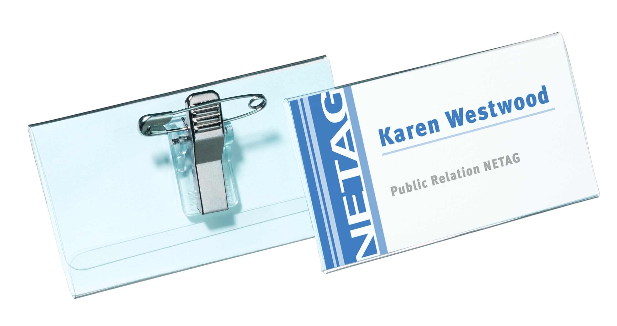 Holders Durable Name Badge with Combi-Clip 40x75mm 8141 (PK50)