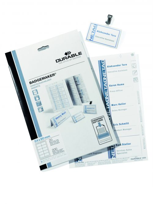 Durable Inserts for Duraprint Badgemaker Card 150gsm 54x90mm Ref 1455/02 [Pack 200]