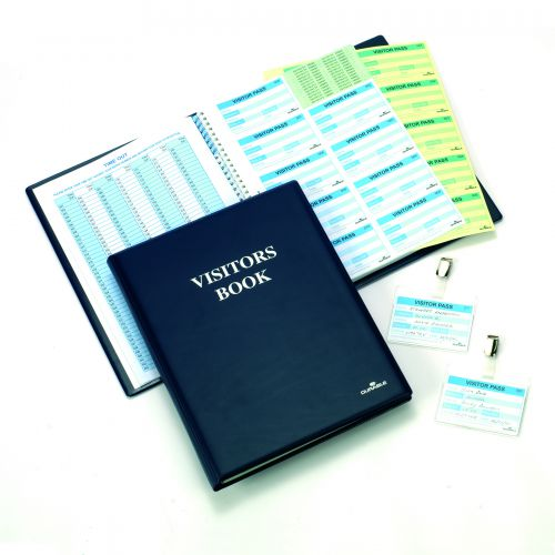 Durable Visitors Book Leather Look 300 Duplicate Carbonless Badge Inserts W90xH60mm Blue Ref 1465-00