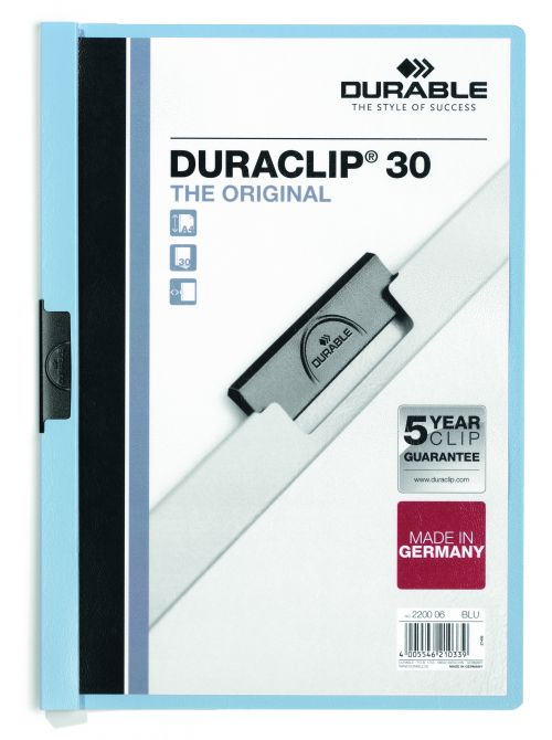 Durable Duraclip 30 Report File 3mm A4 Blue (Pack 25) 220006