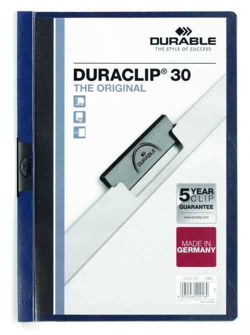 Durable Duraclip 30 Report File 3mm A4 MN Blue 220028 (PK25)