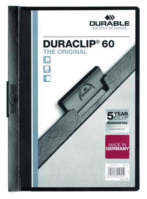 Durable Duraclip 60 Report File 6mm A4 Black 220901 (PK25)