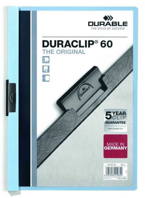 Durable Duraclip 60 Report File 6mm A4 Blue 220906 (PK25)