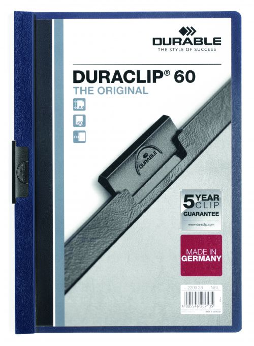 Durable Duraclip Folder PVC Clear Front 6mm Spine for 60 Sheets A4 Midnight Blue Ref 2209/28 [Pack 25]