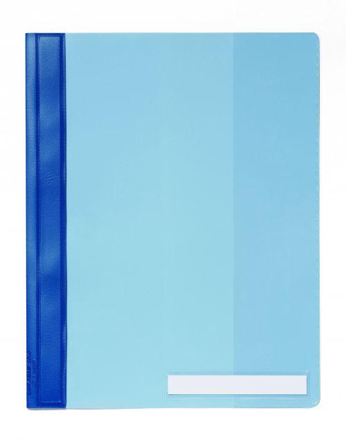 Durable Management Flat Bar File PVC Clear Front A4 Plus Blue Ref 2510/06 [Pack 25]