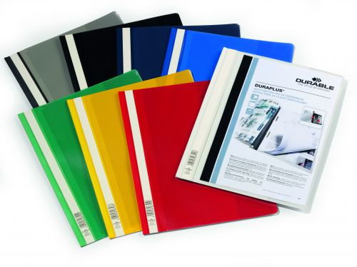 Durable Duraplus Quotation Filing Folder with Clear Title Pocket PVC A4+ Assorted Ref 2579/00 [Pack 25]