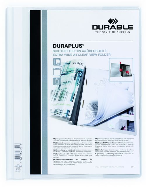 Durable Duraplus Report Folder ExWide A4 White 257902 (PK25)