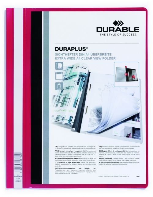 Durable Duraplus Quotation Filing Folder with Clear Title Pocket PVC A4+ Red Ref 2579/03 [Pack 25]