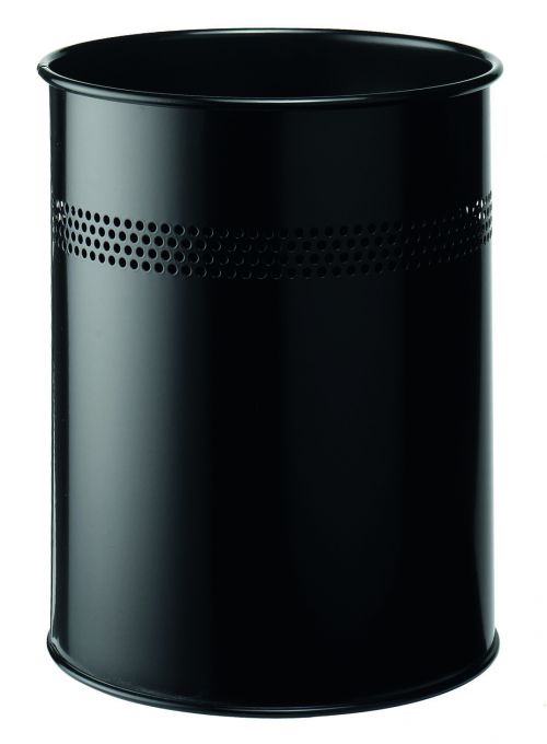 Durable Bin Round Metal Perforated 15 Litre Capacity 30mm Rim Black Ref 3300/01